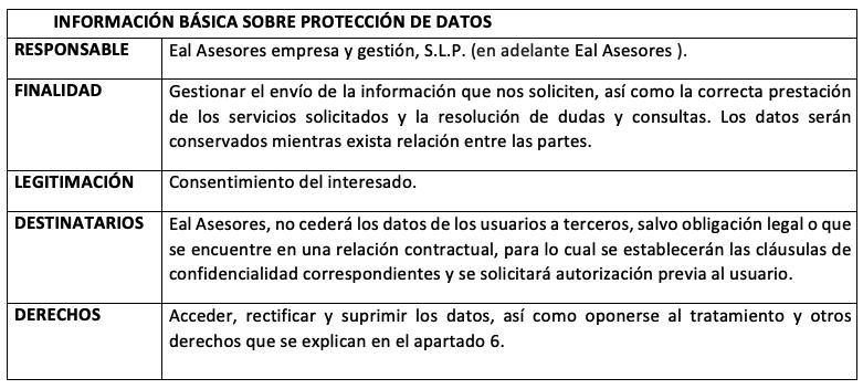 INFORMACIÓN BÁSICA SOBRE PROTECCIÓN DE DATOS
